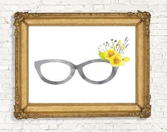 Watercolor Eyeglasses With Flowers Wall Art - Geekery Wall Decor - Eyewear/ Spectacles Printable - Optician / Optometrist Gift