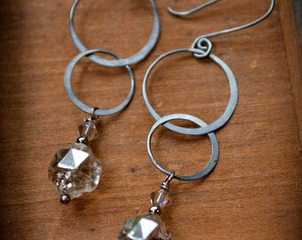 Artisan Silver Earrings with sparkling Czech glass beads handmade jewelry gift