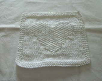 Hand Knit Dishcloth or Washcloth - color is white - measures approximately81/2x81/2 inches