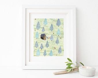 Tiny House Art Print / Watercolor / Art Print / Tiny House / Tiny house Gifts / Gifts for Her / Forest Art / Little House / Little House Art
