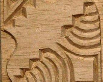 Carved Textile Stamp, African Pot, Oshiwa Wood Printing Block, Item 10-26-4