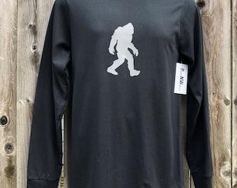 Sasquatch Long-Sleeve Tshirt - Gray on Black - Big Foot - Pacific Northwest - PNW