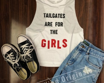 Tailgates Are For The Girls Crop Racerback Tank