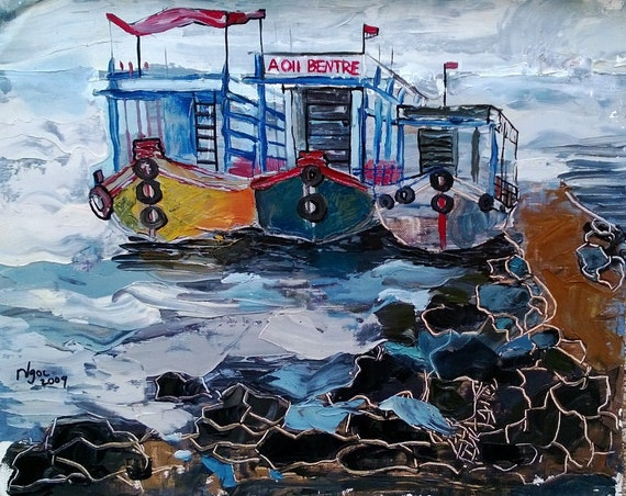 "FERRIES 20x16"" Oil on Canvas, Live Painting, Nha Trang, Original by Nguyen Ly Phuong Ngoc"