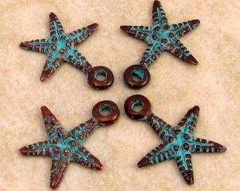 Mykonos Casting Starfish Charm, Green Patina, 4 Pieces M304