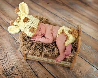 Newborn Baby Giraffe Hat with Matching Diaper Cover Set~Crochet Giraffe Hat~Giraffe Newborn Photo Prop~Crochet Giraffe Diaper Set