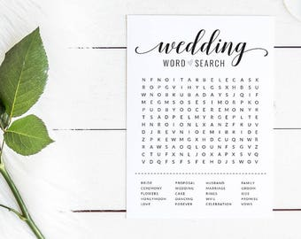 Black and White Bridal Shower Word Search