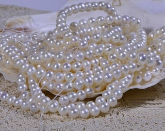 Freshwater Pearl, Lustrous Genuine Off Round Fresh Water Pearls, Creamy White, 5.6 -5.7mm