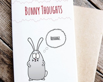 Funny Printable Card with Rabbit- Bunny Thoughts Card
