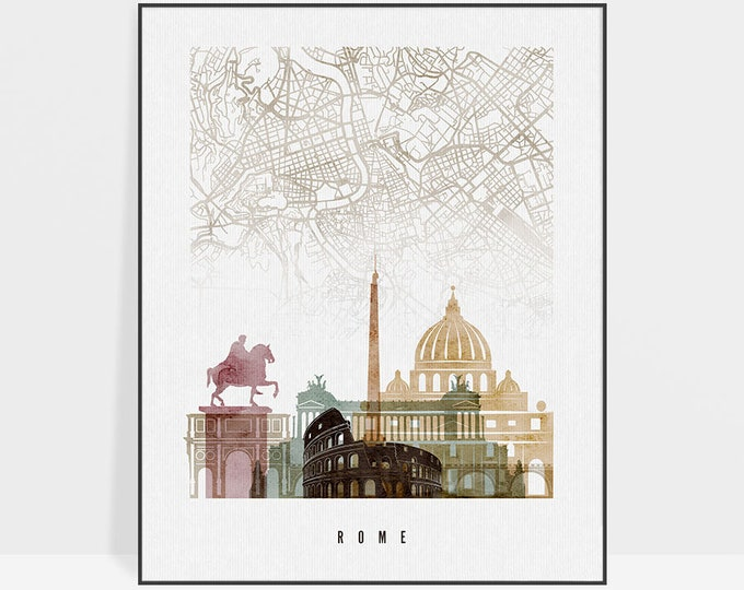 Rome map, Rome map poster, Rome skyline print, Rome Italy wall art, Rome poster, city maps, travel gift, home decor, ArtPrintsVicky