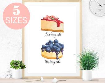 Kitchen wall Art, Cake print, Kitchen decor, Cupcakes Art Print, Watercolor Print Cake Printable Wall Art Nursery Wall Art Digital Art Print