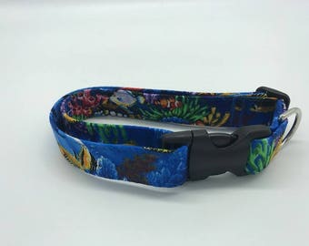 Blue Tropical fish Aloha Print Dog and Cat Collar or Step in Harness - Made In Hawaii