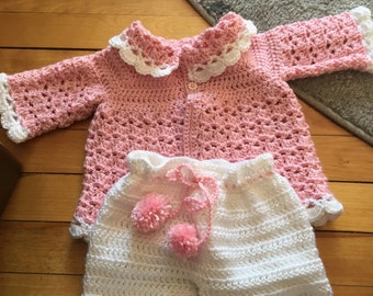 Pink and White crochet set