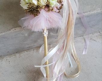 Ivory Blush Tutu Flower Girl Pom Wand Custom Order