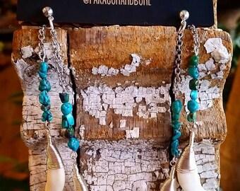 Coyote Teeth and Turquoise Earrings