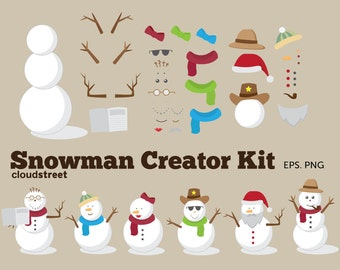 BUY 2 GET 1 FREE Christmas clip art : Snowman Creator Kit for personal and commercial use ( snowman clipart )