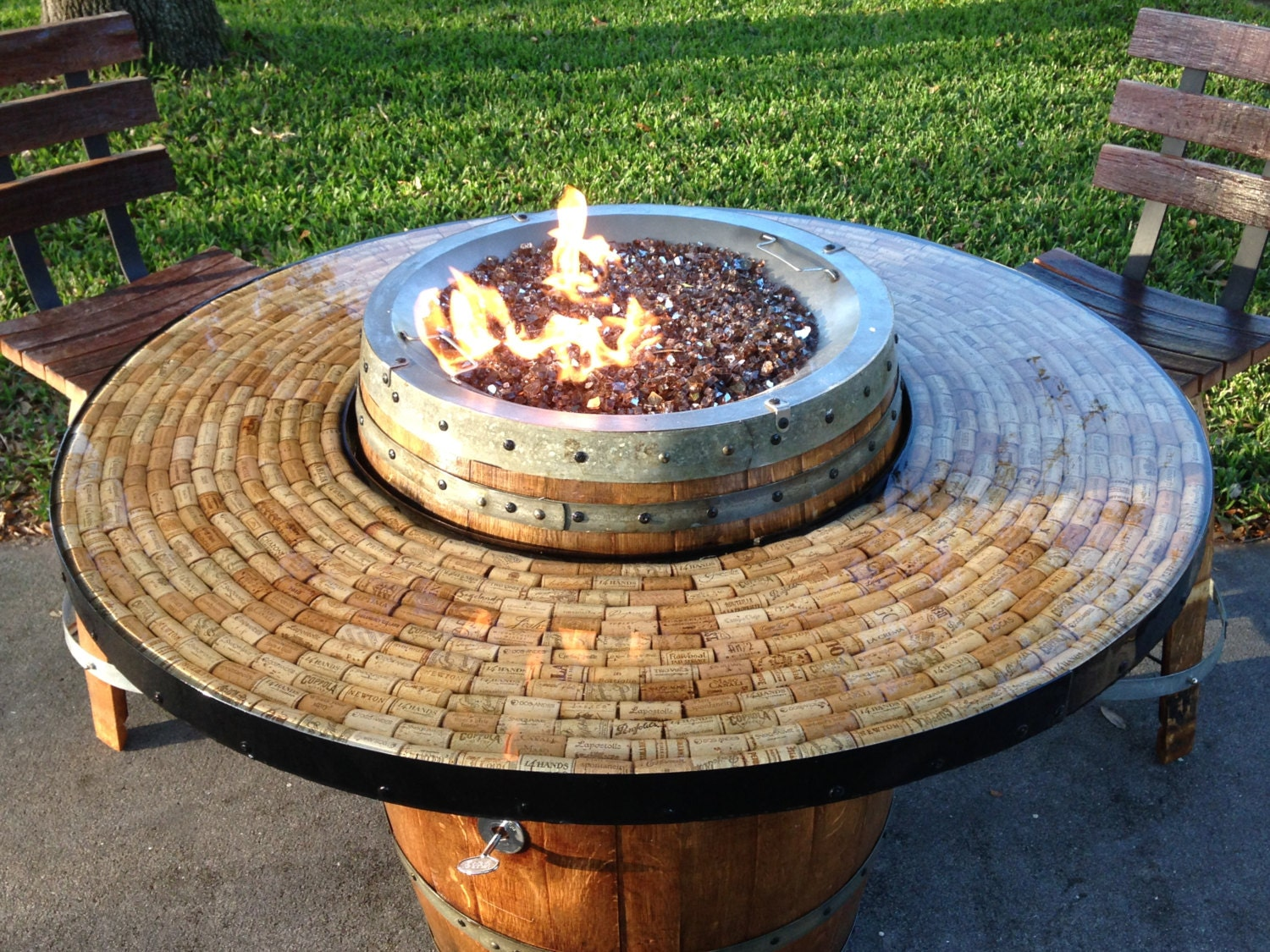 🔎zoom - Wine Barrel Gas Fire Pit And Patio Table