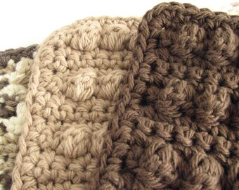 Crochet Dishcloths - 3 Cloths in Neutral Browns- All Cotton