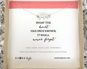 End Alz Elephant Necklace - benefits the Alzheimer's Association - remember - never forget - love jewelry - encouragement jewelry