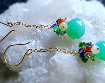 Long Drop Earrings Chrysoprase Chalcedony with Colorful Gemstone Cluster Earrings Boho Chic Gift for Her
