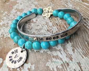 He sees me bracelet - inspirational word jewelry - simple necklace - Love Squared Designs