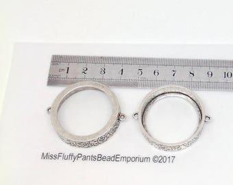 Nunn Design, Grande Pendant Circle Open Double Loop, Fine Silver Antiqued, gpco-sb