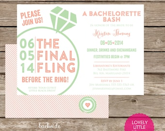 Modern Final Fling Bachelorette Party Invite DIY Printable -  Lovely Little Party