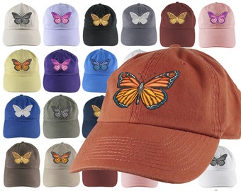 Custom Large Colorful Monarch Butterfly Embroidery on an Adjustable Unstructured Dad Hat Style Fashion Baseball Cap 16 Hat Colors Selection