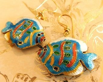 Colorful Cloisonne Fish Earrings With God Vermeil Hooks