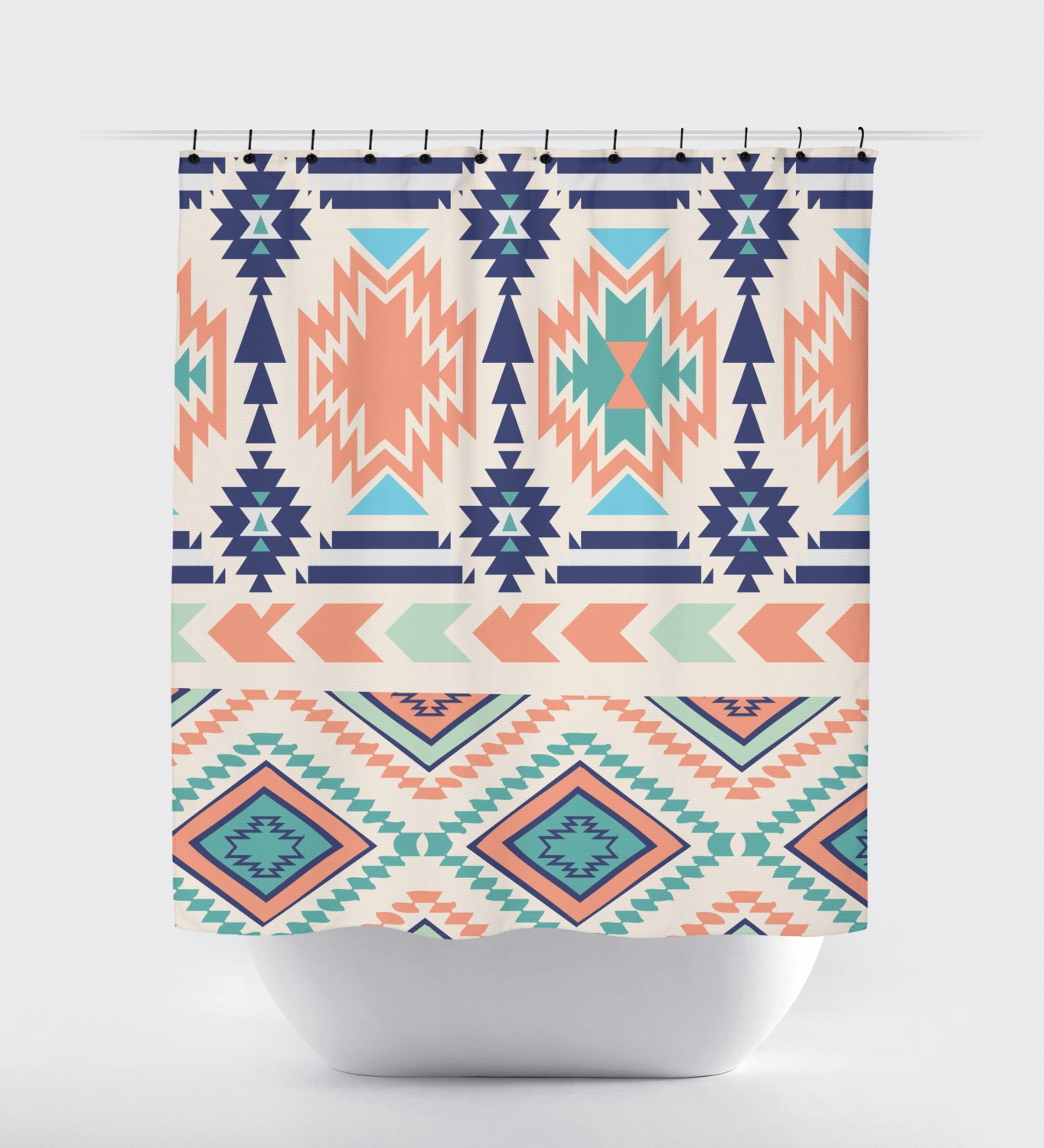 Coral Turquoise And Blue Aztec Fabric Shower Curtain High