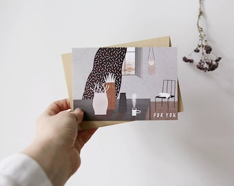 for you. postcard // simple postcard for everybody. illustration with cozy room with vases and cat