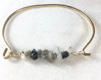 Black and White Rutilated Quartz Bangle Bracelet, Quartz Bracelet, Beaded Boho Bracelet, Ready To Ship