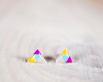 Triangle Earrings For Men, Triforce Stud Earrings, Legend Of Zelda, Summer Earrings, Colorful Earrings, Stud Earings, Geometric Earrings