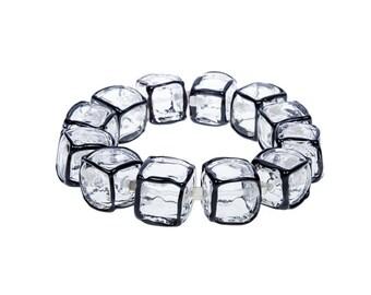 Black and white bracelet,    Statement bracelet, Geometric bracelet, Cubes bracelet, Squares bracelet