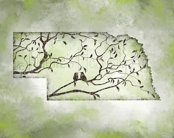 Nebraska State Wall Art Print, 11 x 14 Art for Home, Nebraska Wall Art, Nebraska Print, Nebraska Art Print, Sage Green Tree Art (304)