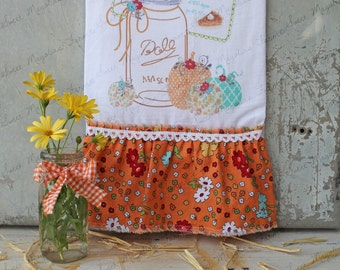 "Flour Sack Kitchen Towel - Farmhouse Country Style Ruffle Farm Cottage Fall Autumn Thanksgiving Sayings -""Pumpkin Pie Recipe Ball Jar"""""