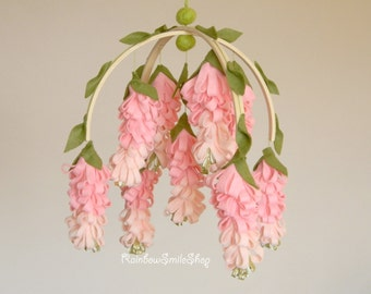 Pink wisteria baby mobile Flower mobile Baby girl mobile  Pink gold nursery decor Baby Mobiles Hanging Floral Mobile
