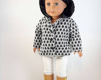 Black & White Jacket With Hood for 18 Inch Doll, Canadian Handmade Winter Doll Coat, Gift for Girls