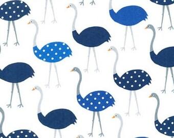 Robert Kaufman Fabric Urban Zoologie Ostrich Blue by Ann Kelle, Choose your cut