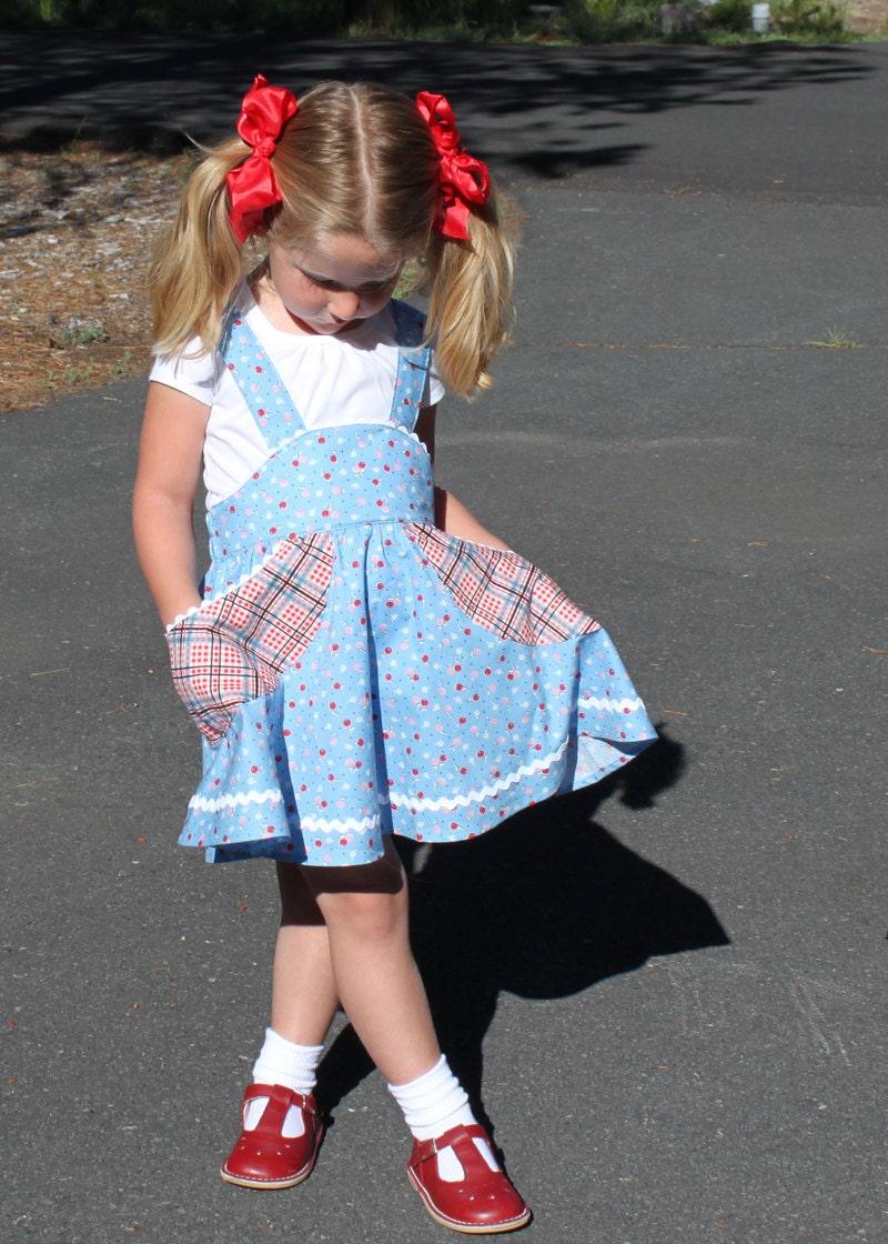 Retro school jumper pdf sewing pattern girl toddler suspender zoom jeuxipadfo Images