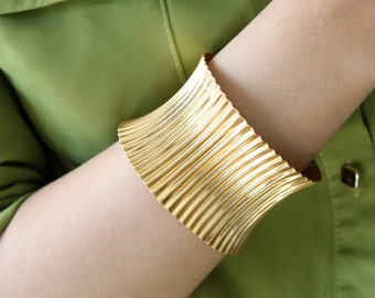 Vintage Gold Cuff - Wide Gold Cuff - Gold Open Cuff - Gift For Her - Statement Gold Cuff - Wide Gold Bracelet