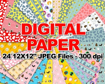 "Secret Life of Pet - Digital Paper - 24 jpeg files 12x12"" 300 dpi"