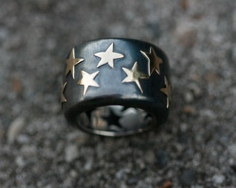 Handmade sterling silver ring, star ring, 14k gold ring, stars band, gold star ring creative design handcrafted