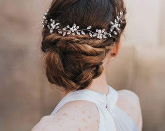 "Headpiece, Bridal Hair Accessories, Bridal Headband ~ ""Brooklyn"" Wedding Hair Vine (Silver, Silver with Opal, Gold or Rose Gold)"