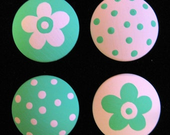 Set of 8 - PINK and TURQUOISE - DoTS and FLoWERS - Hand Painted Drawer Knobs
