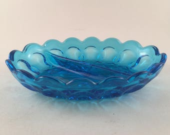 Vintage Sky Blue Pressed Oval Glass Sectional Relish/Candy/Trinket Candy Dish/Thumbprint/Scalloped Edge/Vintage Blue Glass/Vintage Relish