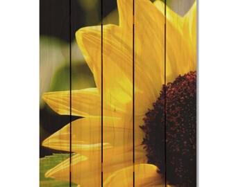 Yellow Sunflower on Cedar, Inside or Outside Art, Wall Decor, Wall Hanging. (YS1624/2836)