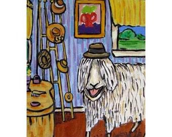 Sheeps Favorite hat Animal Art Print 11x14 JSCHMETZ american MODERN abstract pop folk art