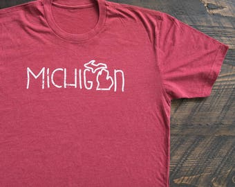 Michigan Doodle Shape of State of Michigan Outline Super Soft T-Shirt Tee - FREE SHIPPING