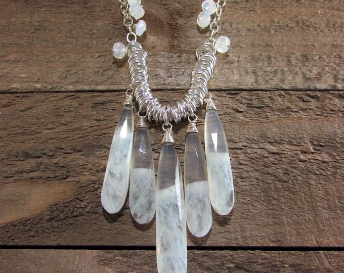 Solar Quartz & Moonstone Sterling Necklace, Large Teardrop Gemstone Jewelry, Wedding Necklace